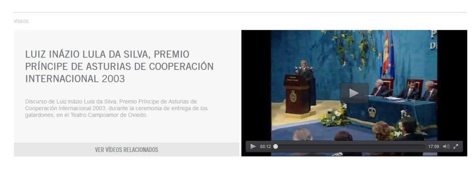 Lula Da Sila recibiendo el Premio Príncipe de Asturias